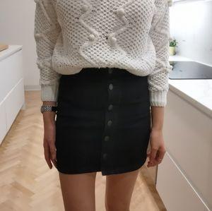 Black denim high waisted skirt